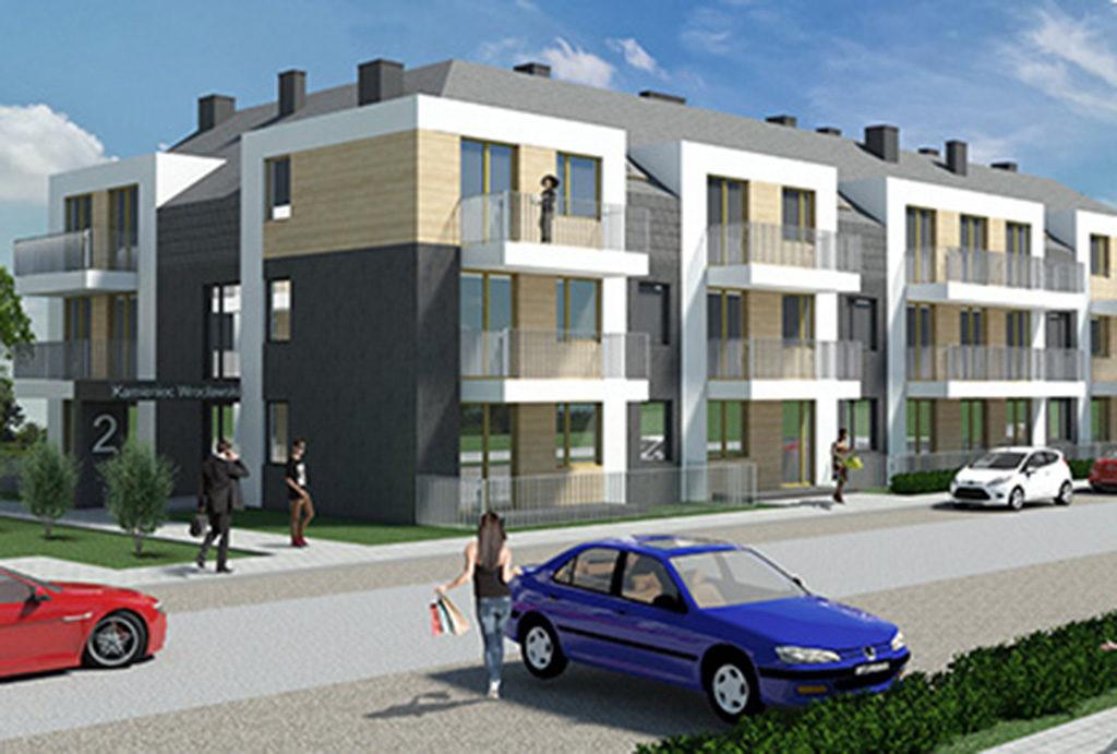 widok na osiedle, na którym znajduje się oferowane do sprzedaży mieszkanie Wrocław (okolice)