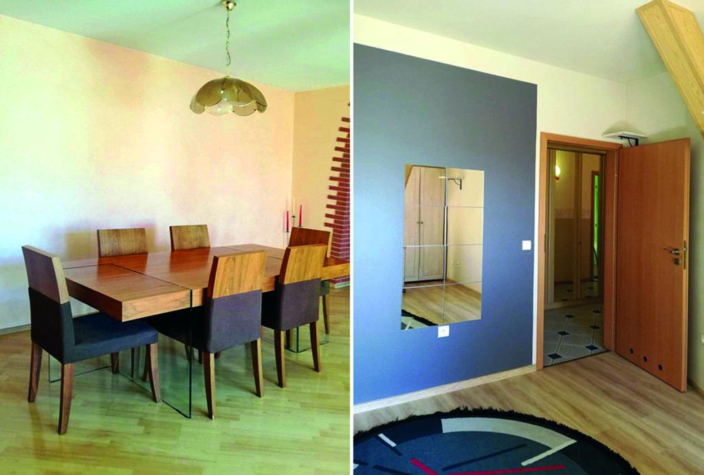 po lewej jadalnia, po prawej hol w mieszkaniu do sprzedaży Wrocław (okolice)