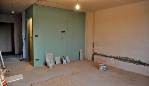 niewykończony salon w mieszkaniu do sprzedaży Wrocław (okolice)