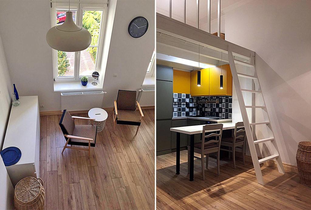 widok z innej perspektywy na salon i przedpokój w mieszkaniu na wynajem Wrocław Centrum