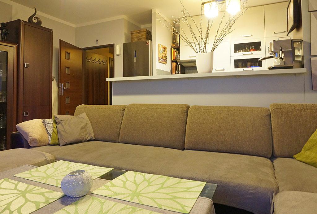 zdjęcie przedstawia prestiżowy salon w mieszkaniu na sprzedaż Wrocław Fabryczna