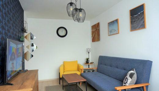 zaprojektowany w nowoczesnym designie salon w mieszkaniu do wynajmu Wrocław Fabryczna