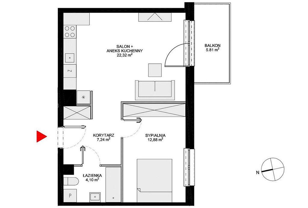 szkicowy układ pomieszczeń w mieszkaniu do sprzedaży Wrocław Krzyki