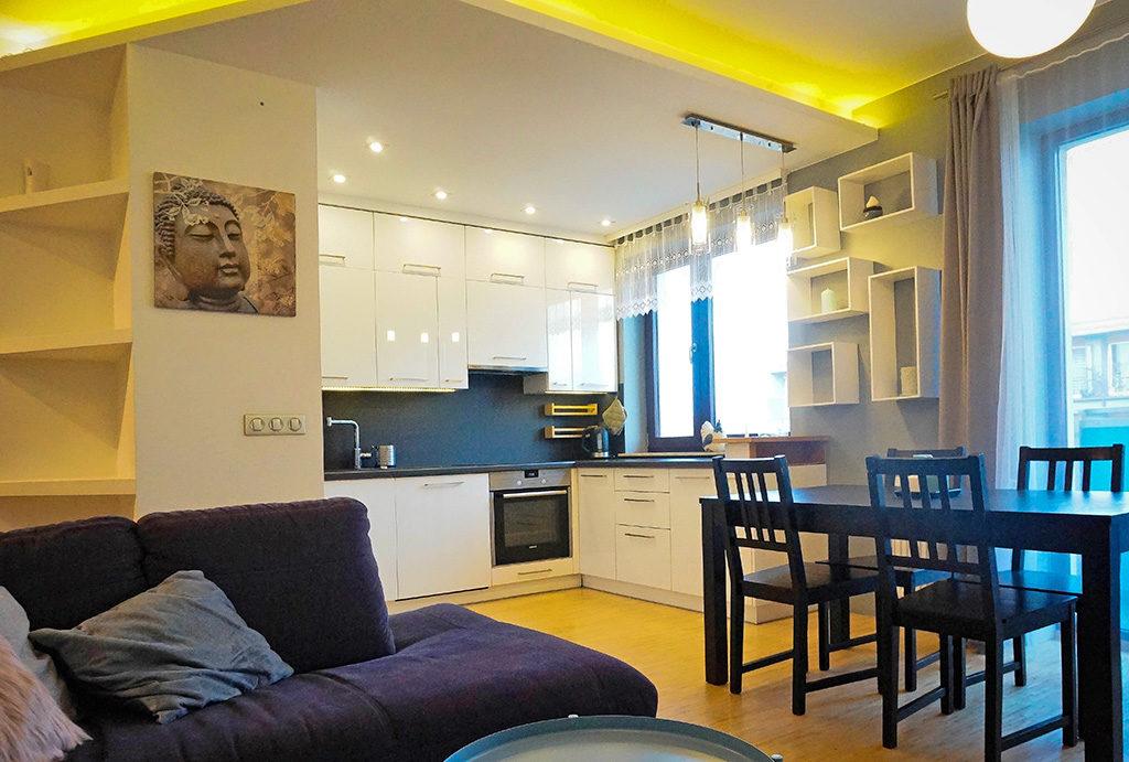 zaprojektowane w nowoczesnym stylu wnętrze mieszkania do sprzedaży Wrocław Krzyki