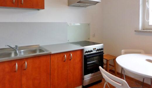 widok na zabudowaną kuchnię w mieszkaniu do wynajmu Wrocław Krzyki