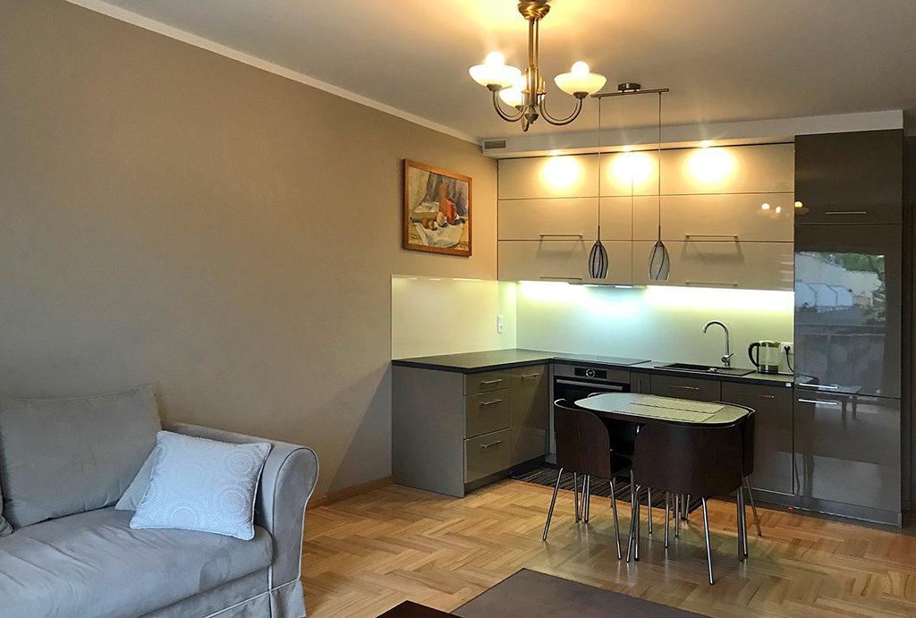 rzut z salonu na aneks kuchenny w mieszkaniu na sprzedaż Wrocław Psie Pole