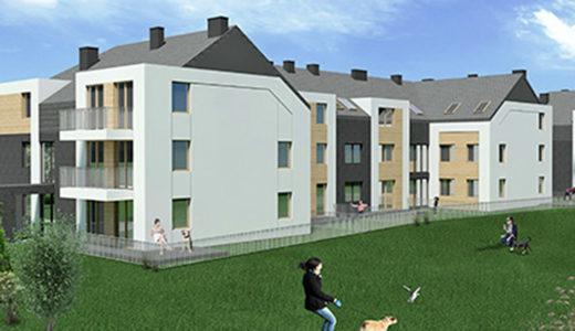 zdjęcie prezentuje osiedle w okolicach Wrocławia, na którym mieści się oferowane na sprzedaż mieszkanie