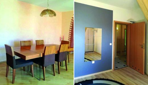 na zdjęciu jadalnia oraz przedpokój w mieszkaniu na sprzedaż Wrocław okolice