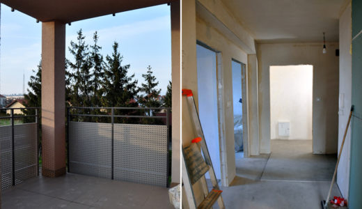 widok na balkon oraz przedpokój w mieszkaniu do sprzedaży Wrocław okolice