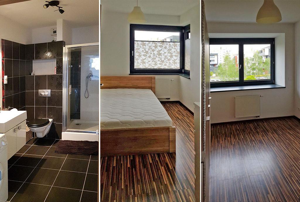 widok na łazienkę, sypialnię i pokój w mieszkaniu do wynajęcia Wrocław Fabryczna