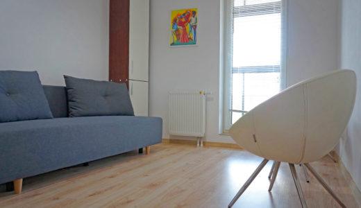 salon w eleganckim stylu w mieszkaniu do wynajmu Wrocław Fabryczna