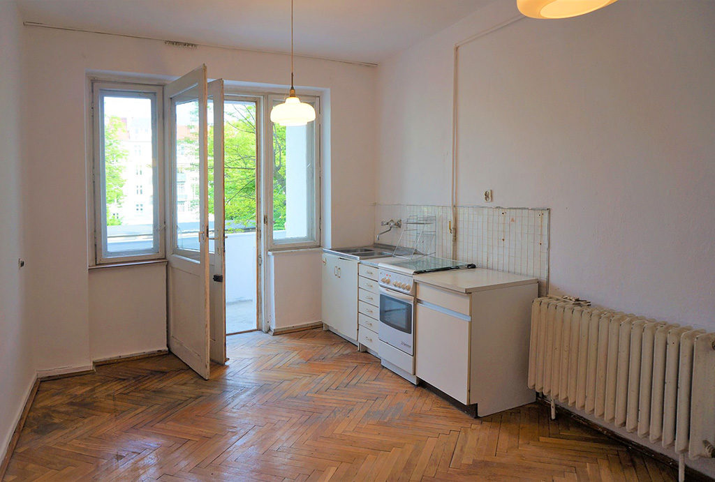 kuchnia w zabudowie w mieszkaniu do sprzedaży Wrocław Krzyki