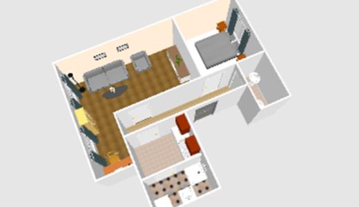 widok z góry na rozkład pomieszczeń i pokoi w mieszkaniu do sprzedaży Wrocław okolice