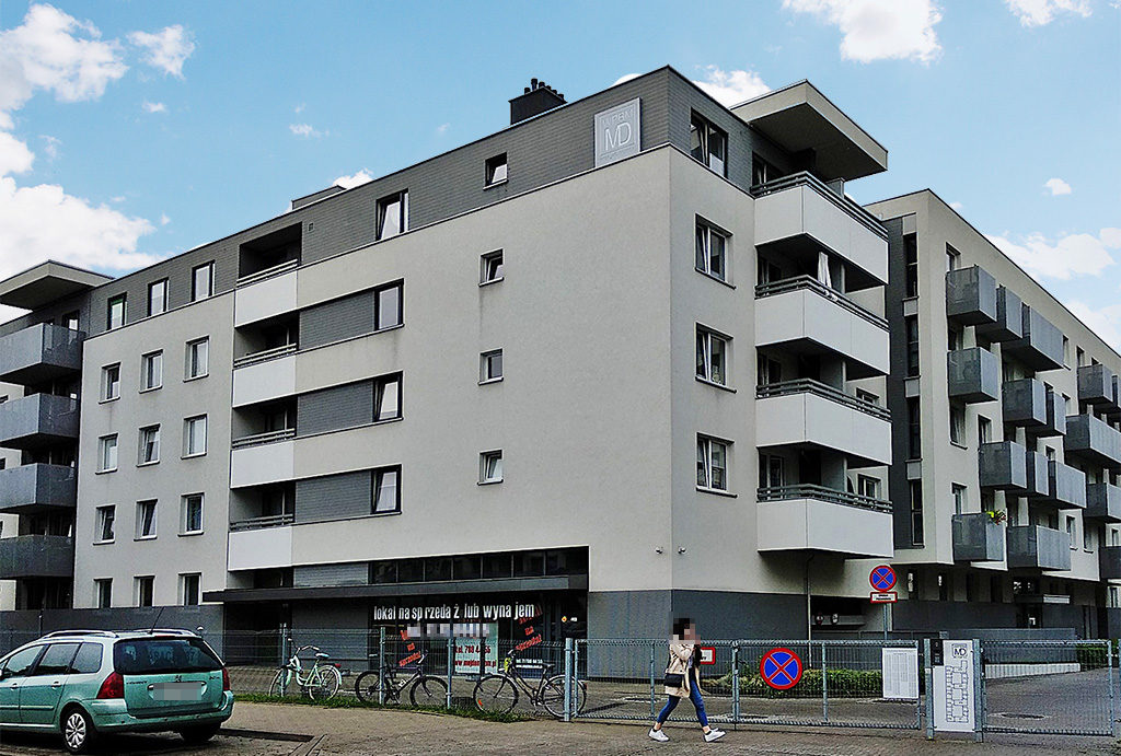 widok na blok, w którym znajduje się oferowane na wynajem mieszkania Wrocław