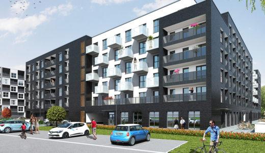 widok od strony parkingu na budynek, w którym znajduje się oferowane na sprzedaż mieszkanie Wrocław Fabryczna