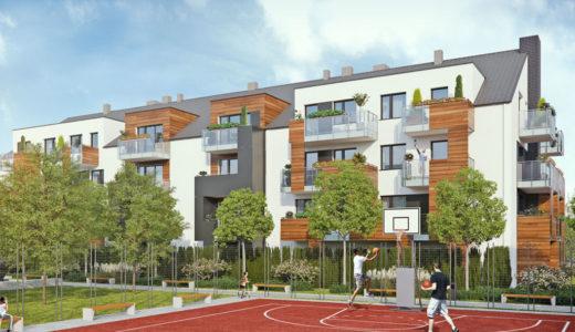 widok od strony boiska do koszykówki na budynek, w którym usytuowane jest mieszkanie do sprzedaży Wrocław Krzyki