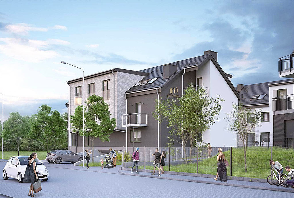 budynek na osiedlu Wrocław Złotniki , w którym mieści się oferowane do sprzedaży mieszkanie z rynku pierwotnego