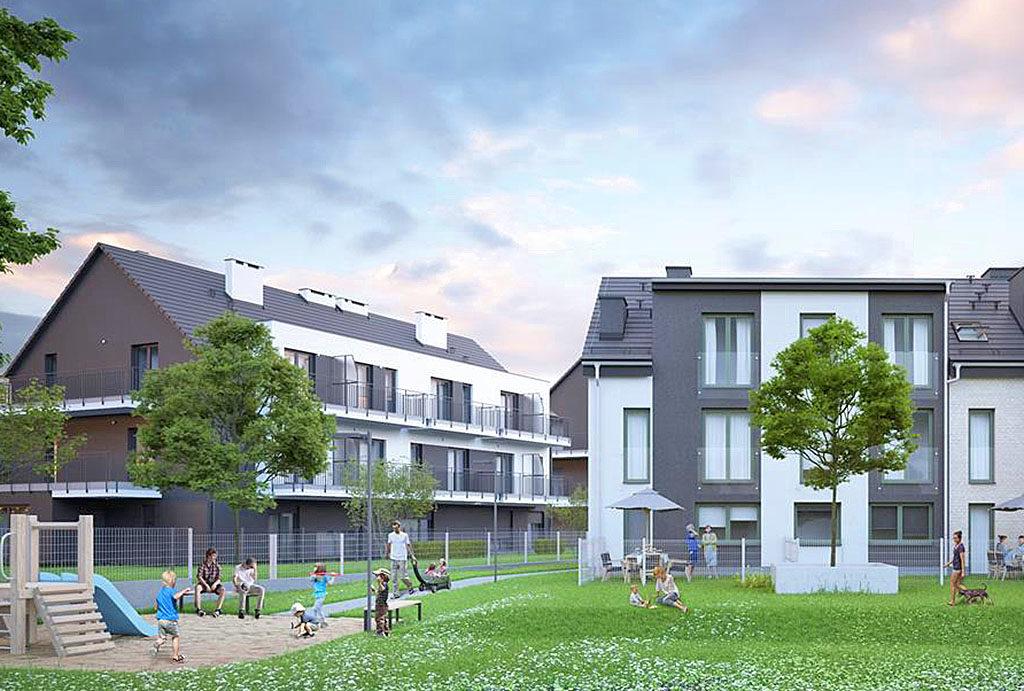 widok na osiedle Wrocław Złotniki , gdzie znajduje się oferowane na sprzedaż mieszkanie