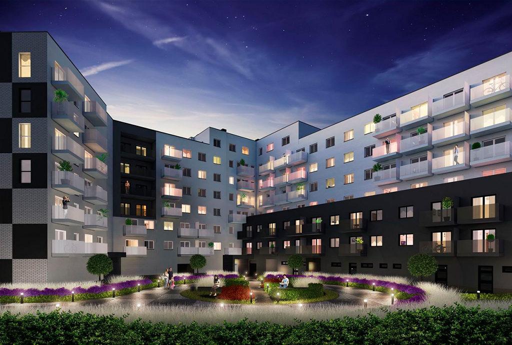 widok nocą na osiedle, gdzie mieści się oferowane na sprzedaż mieszkanie Wrocław Fabryczna