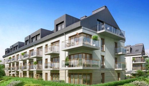 otoczenie zieleni wokół budynku, gdzie mieści się oferowane do sprzedaży mieszkanie Wrocław Krzyki
