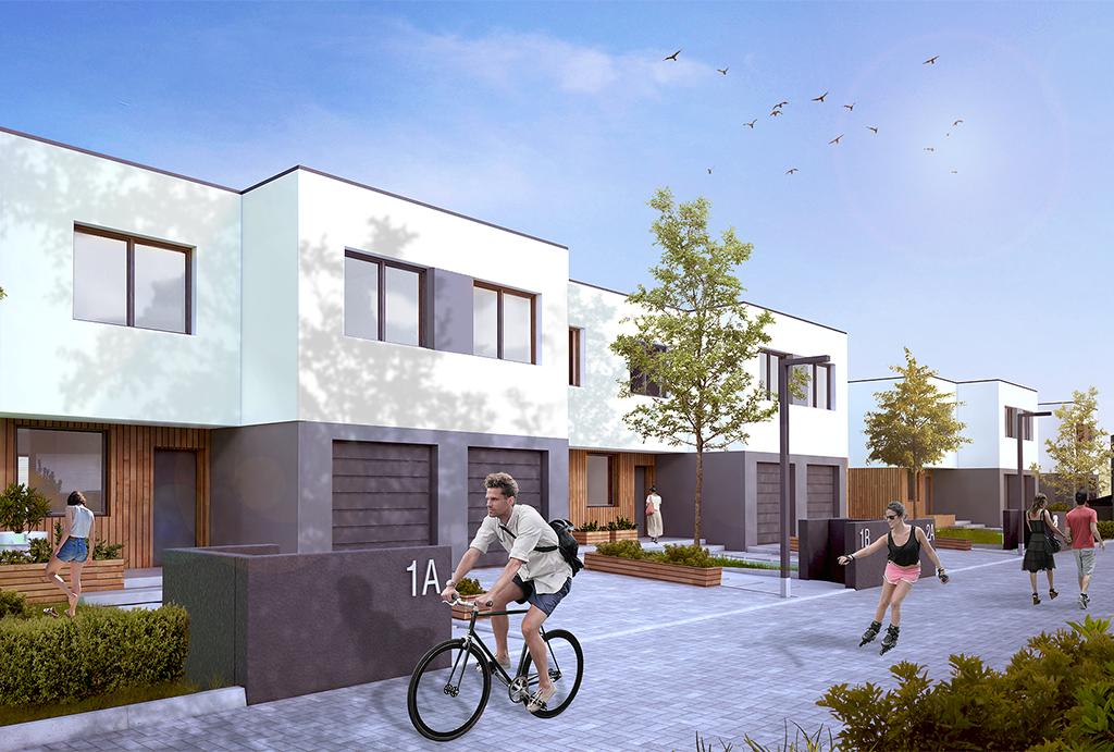 zagospodarowany teren osiedla, na którym mieści się oferowane do sprzedaży mieszkanie Wrocław Krzyki