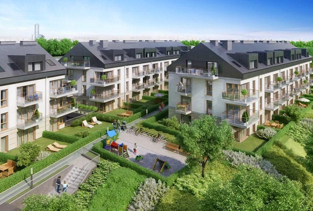 widok z lotu ptaka na całe osiedle, na którym oferujemy mieszkanie do sprzedaży Wrocław Krzyki
