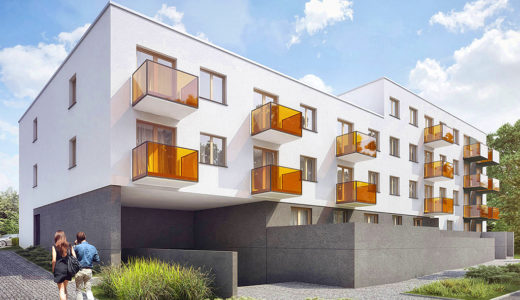 widok od strony garaży na budynek, w którym znajduje się oferowane na sprzedaż mieszkanie Wrocław Krzyki