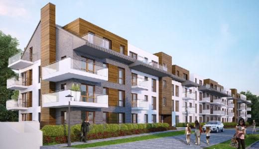 widok od strony ulicy na apartamentowiec, w którym mieści się oferowane do sprzedaży mieszkanie Wrocław Krzyki