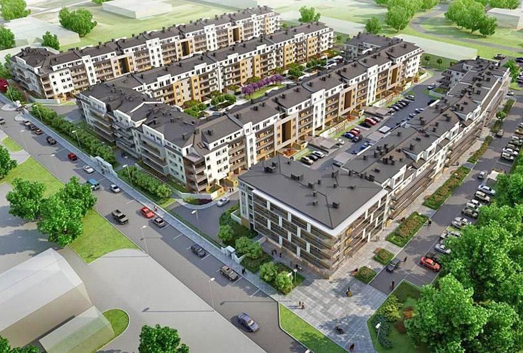 rzut z lotu ptaka na osiedle, na którym znajduje się oferowane do sprzedaży mieszkanie Wrocław Krzyki