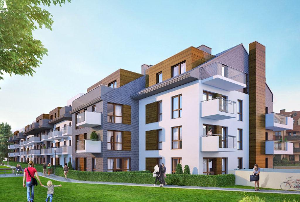 widok od drugiej strony na elitarny apartamentowiec, w którym usytuowane jest oferowane na sprzedaż mieszkanie Wrocław Krzyki