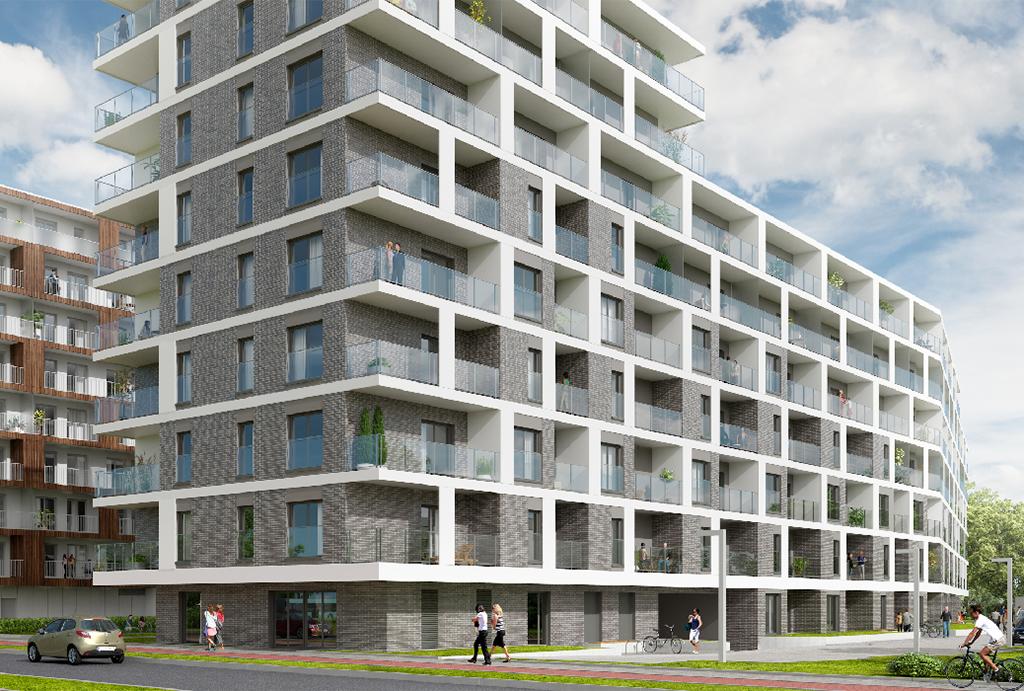 widok na komfortowy apartamentowiec, w którym mieści się oferowane do sprzedaży mieszkanie Wrocław Psie Pole