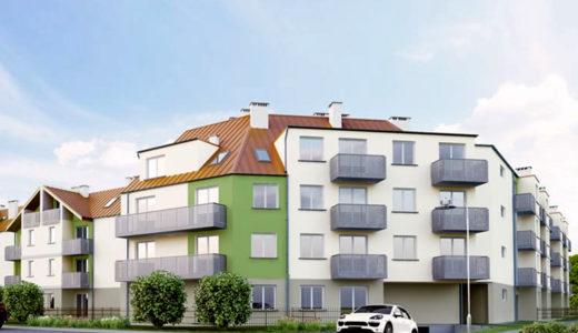widok od strony ulicy na budynek, w którym mieści się oferowane do sprzedaży mieszkanie Wrocław Psie Pole