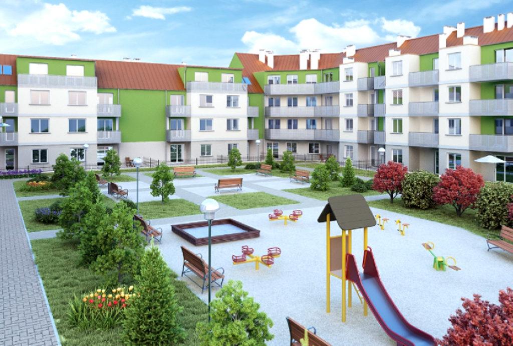 widok na plac zabaw obok budynku, w którym znajduje się oferowane do sprzedaży mieszkanie Wrocław Psie Pole