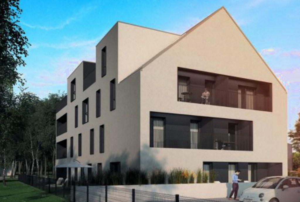 widok od strony ulicy na apartamentowiec, w którym znajduje się oferowane na sprzedaż Wrocław Siechnice