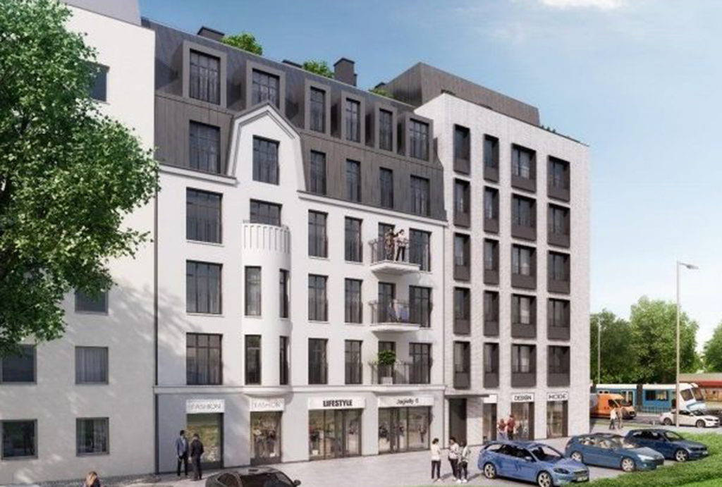 frontowa strona ekskluzywnego apartamentowca, w którym znajduje się mieszkanie na sprzedaż Wrocław Stare Miasto