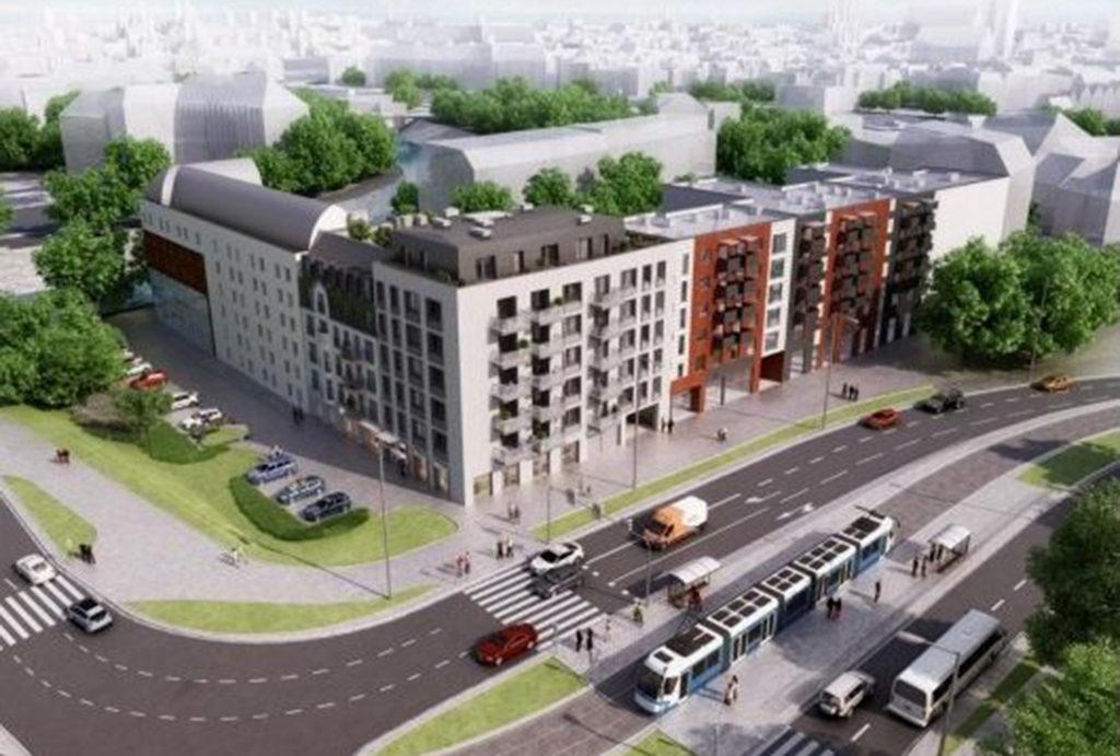 widok z lotu ptaka na osiedle, na którym zlokalizowane jest oferowane do sprzedaży mieszkanie Wrocław Stare Miasto