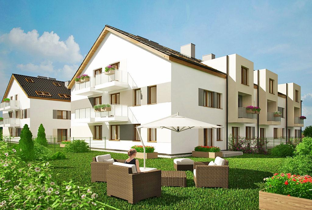 zadbana i zagospodarowana zieleń wokół budynku, gdzie znajduje się mieszkanie do sprzedaży Wrocław okolice
