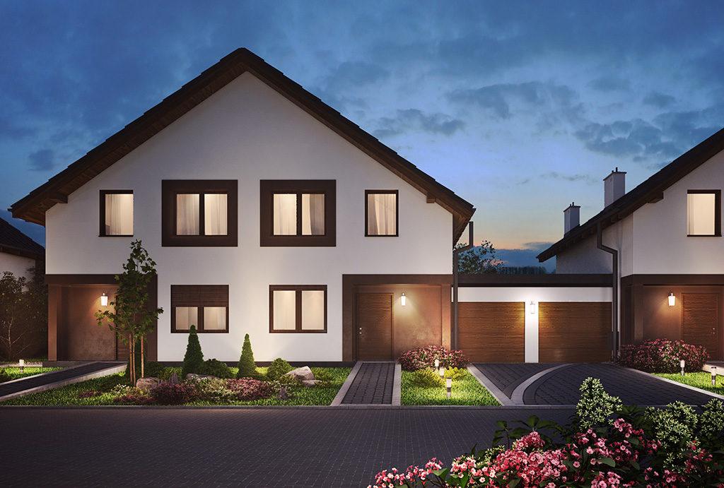 zdjęcie nocne prezentuje budynek, w którym mieści się oferowane do sprzedaży mieszkanie Wrocław (okolice)