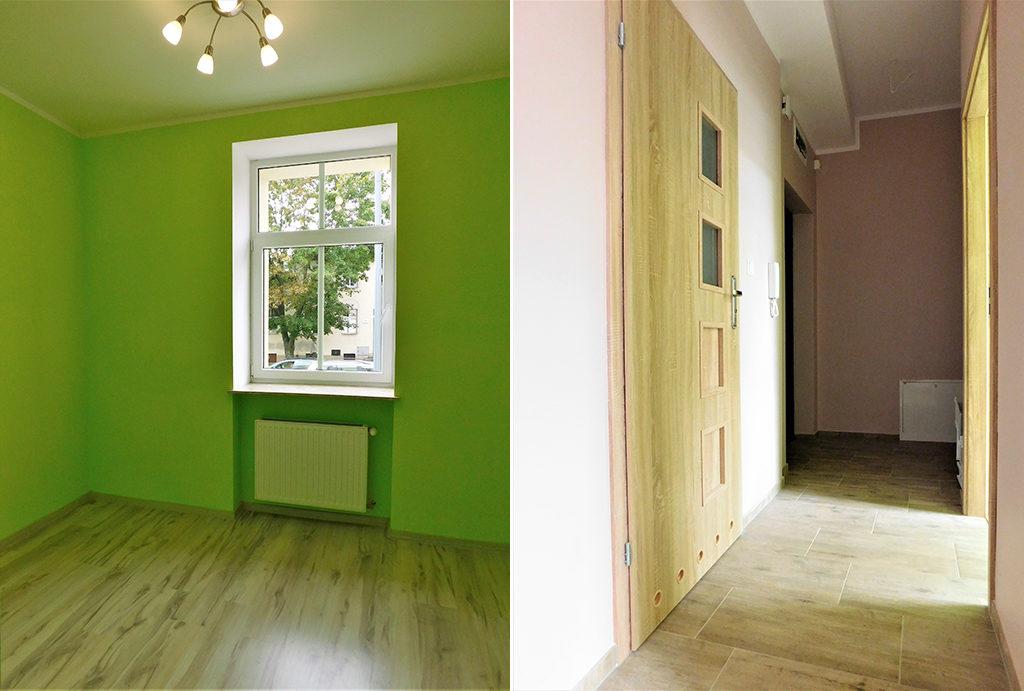 po lewej pokój, po prawej przedpokój w mieszkaniu na wynajem Wrocław okolice