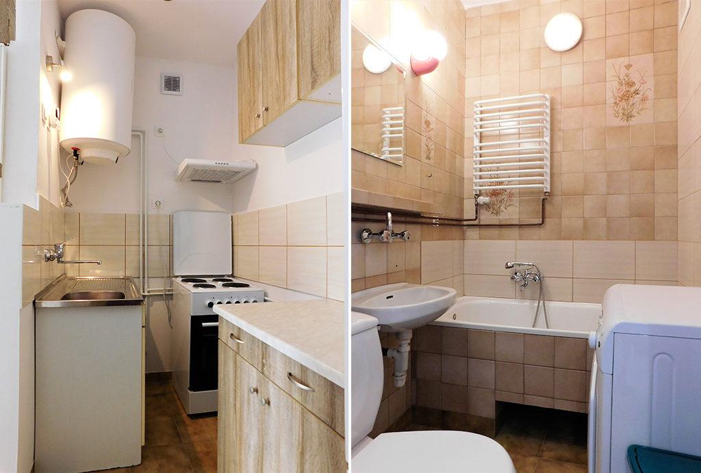 kuchnia i łazienka w mieszkaniu na wynajem Wrocław okolice