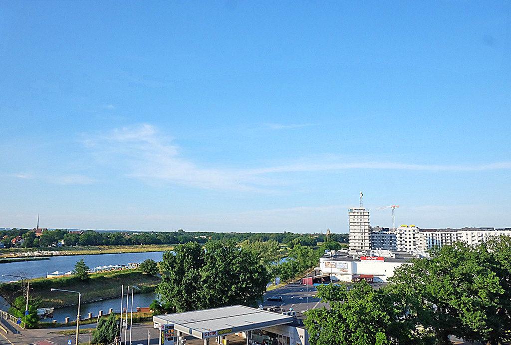 widok z okna na zieleń i Odrę w mieszkaniu do sprzedaży Wrocław Psie Pole