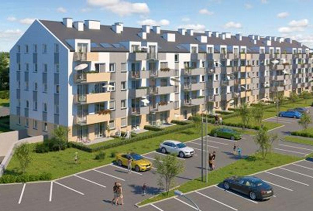 widok na osiedle, gdzie znajduje się oferowane do sprzedaży mieszkanie Wrocław Krzyki