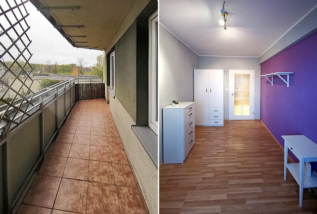 po lewej taras, po prawej wnętrze jednego z pokoi w mieszkaniu na wynajem Wrocław Krzyki