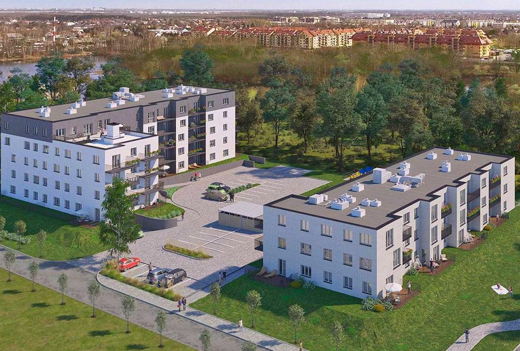 rzut z drona na teren osiedla, gdzie znajduje się mieszkanie Wrocław Leśnica na sprzedaż