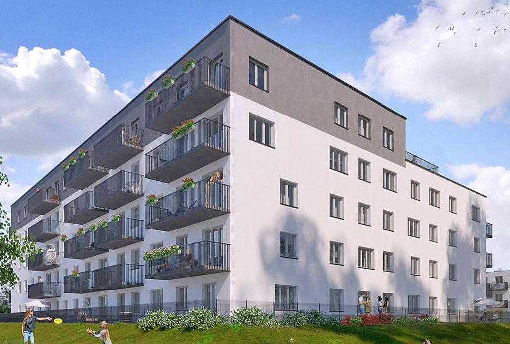 zdjęcie przedstawia dziedziniec przed budynkiem, gdzie mieści się mieszkanie do sprzedaży Wrocław Leśnica