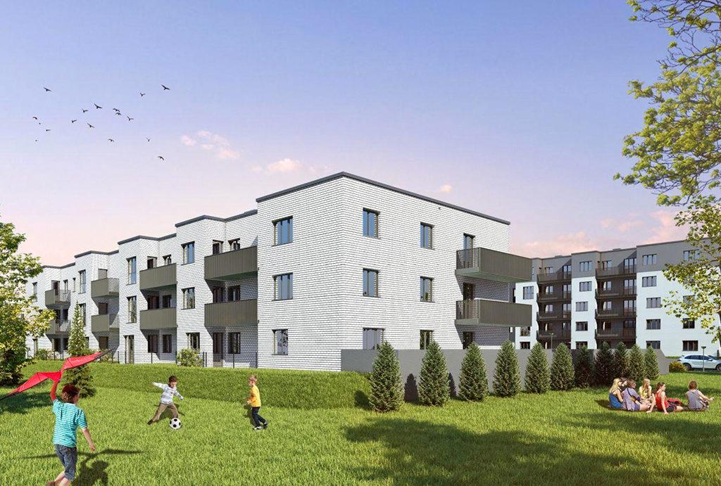 rzut na powierzchnię całego osiedla, na którym usytuowane jest mieszkanie do sprzedaży Wrocław Leśnica