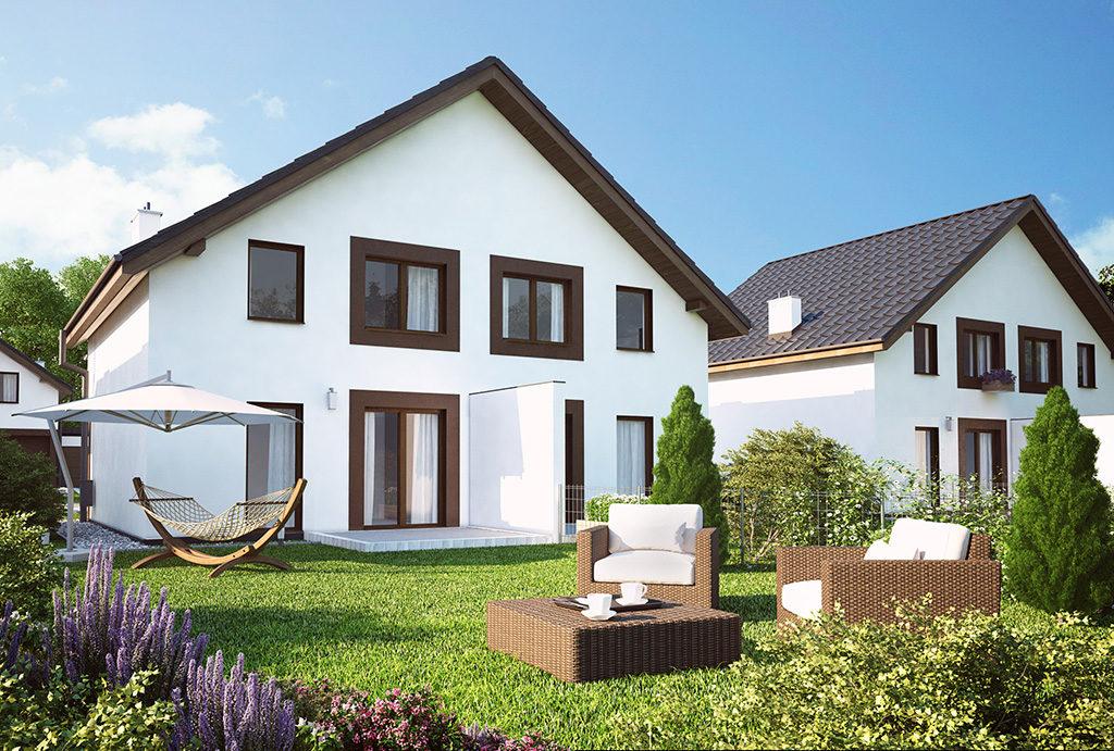 wizualizacja od strony ogrodu z widokiem na mieszkanie na sprzedaż Wrocław (okolice)