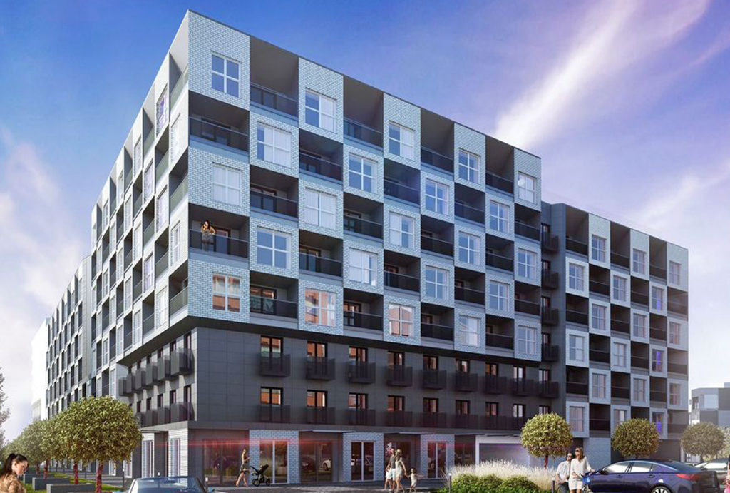 na zdjęciu elitarny apartamentowiec, gdzie znajduje się oferowane na sprzedaż mieszkanie Wrocław Fabryczna