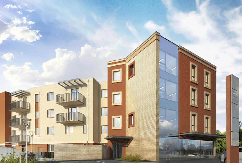 rzut z boku na blok, gdzie położone jest mieszkanie do sprzedaży Wrocław Fabryczna