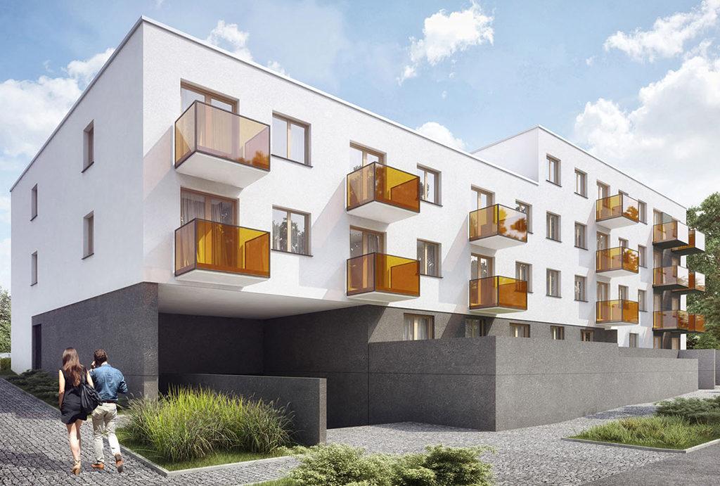 na pierwszym planie budynek, gdzie mieści się oferowane do sprzedaży mieszkanie Wrocław Krzyki